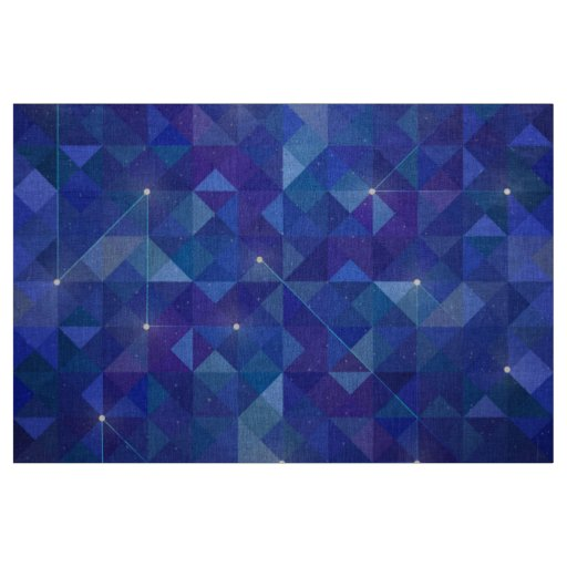 Blue polygonal galaxy illustration fabric