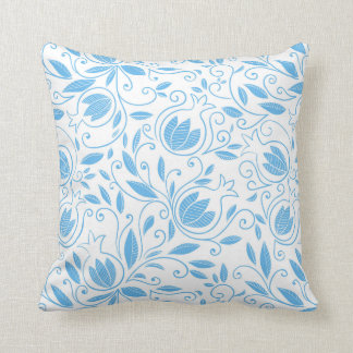 Blue Pomegranate Pattern Throw Pillow