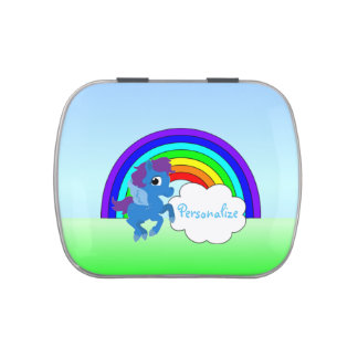 """""""Blue Pony and Rainbow"""" Jelly Belly™ Candy Tin"""