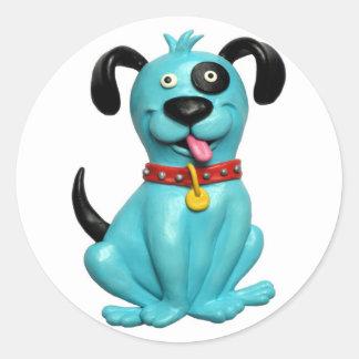 Blue Pooch Round Sticker