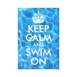 Blue Pool Water Keep Calm and Swim On Stretched Canvas Print
