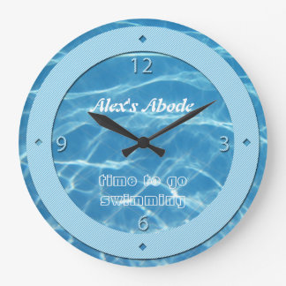 Blue Pool Water Sky Blue Stripes Cool Aquatic Swim Clock