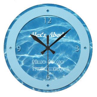 Blue Pool Water Sky Blue Stripes Cool Aquatic Swim Large Clock