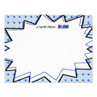 Blue Pop Art Comic Book Inspired Flat Notecards Custom Invitation