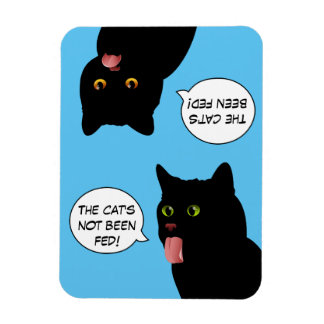 Blue Pop Art Feed the Cat sign Magnet