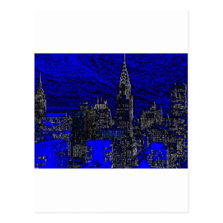 Blue Pop Art New York City Postcard
