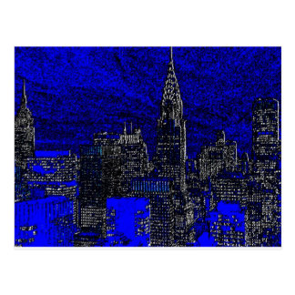 Blue Pop Art New York City Postcard