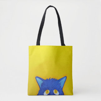 Blue Pop Up Pussy Tote Bag