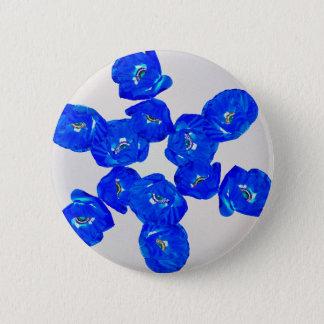 blue poppies 2 inch round button