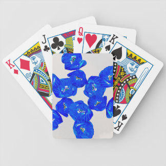 blue poppies bicycle playing cards