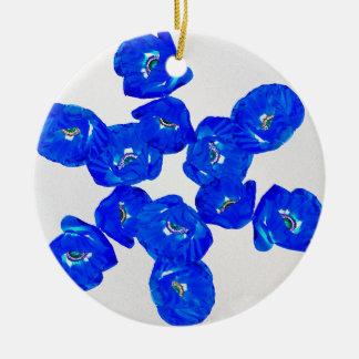 blue poppies ceramic ornament