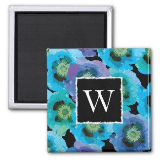 Blue Poppies Monogram Magnet