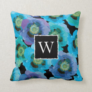 Blue Poppies Monogram Throw Pillow