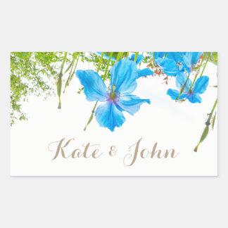 Blue poppies, personalized wedding sticker