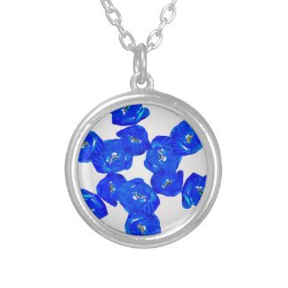 blue poppies silver plated necklace