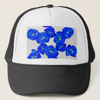 blue poppies trucker hat