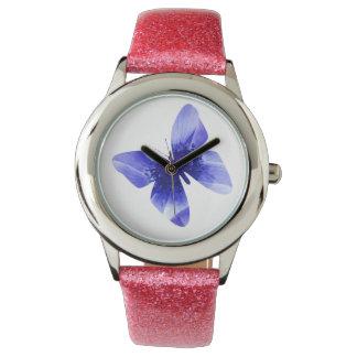Blue Poppy Butterfly,  Girls Glitter Watch