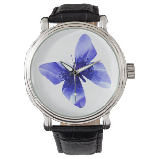 Blue Poppy Butterfly,  Large Leather Watch