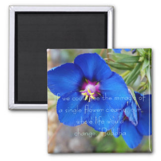 Blue Poppy flower with inspiring quote from Buddha Magnet