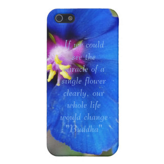 Blue Poppy flower with quote i phone 4 speck case iPhone 5 Case