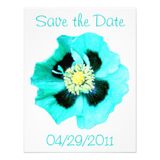 Blue Poppy 'Save the Date' announcement white