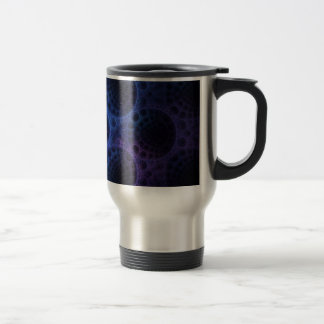 Blue Porous Fractal Pattern Travel Mug
