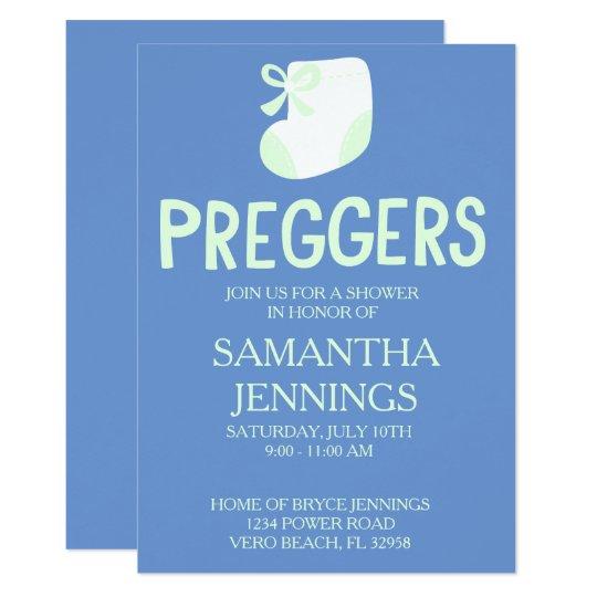 Blue Preggers Baby Shower Invitation. Card