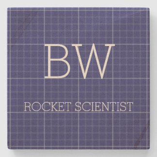 Blue Print Rocket Scientist Engineer Stone Coaster