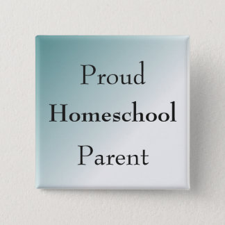 Blue Proud Homeschool Parent 2 Inch Square Button