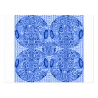 Blue Psychedelic Spheres Postcard