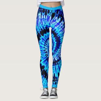 Blue Psychedelic Tie Dye Pattern Yoga Leggings