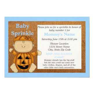 Blue Pumpkin Costume Fall Baby Sprinkle Invitation