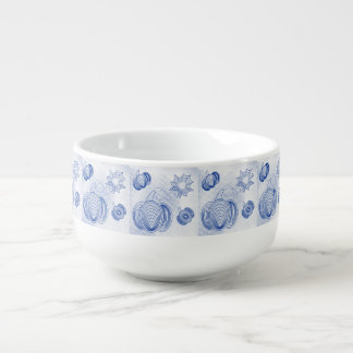 Blue pumpkins pattern with grunge halftones soup bowl with handle