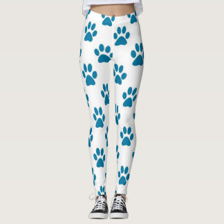 Blue puppy paw prints pattern leggings