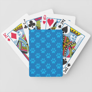 Blue puppy paws pattern bicycle playing cards