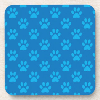Blue puppy paws pattern coaster