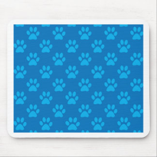 Blue puppy paws pattern mouse pad