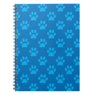 Blue puppy paws pattern notebook