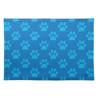 Blue puppy paws pattern placemat