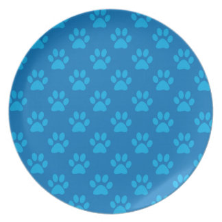 Blue puppy paws pattern plate