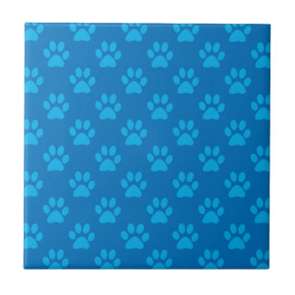 Blue puppy paws pattern tile