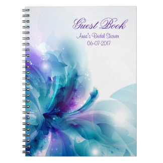 Blue & Purple Abstract Flower Shower Guest Book Notebooks
