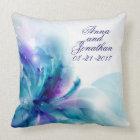 Blue & Purple Abstract Flower Wedding Pillow