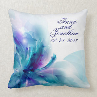 Blue & Purple Abstract Flower Wedding Pillow