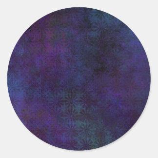 Blue & Purple Abstract, Grungy Digital Art Classic Round Sticker