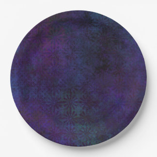 Blue & Purple Abstract, Grungy Digital Art Paper Plate
