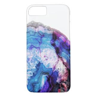 Blue purple agate half cut stone iPhone 8/7 case