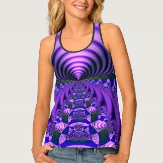 Blue Purple and Lavender Warp Tunnel Fractal Tank Top