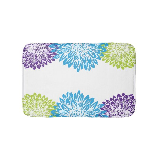Blue, Purple and Lime Green Mums Bath Mat