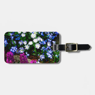 Blue Purple And White Floral Design Products Luggage Tag